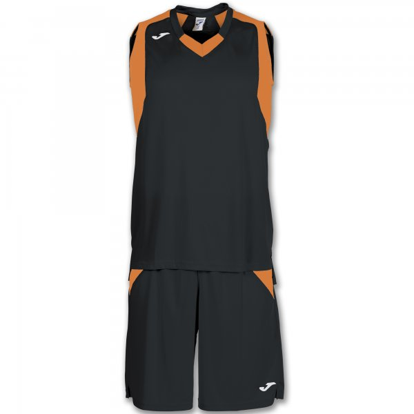 Баскетбольная форма (комплект) FINAL BLACK-ORANGE SLEEVELESS