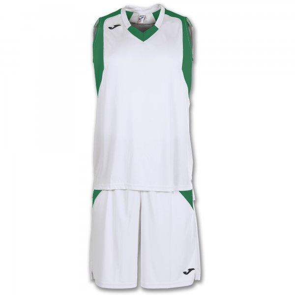 Баскетбольная форма (комплект) FINAL WHITE-GREEN SLEEVELESS