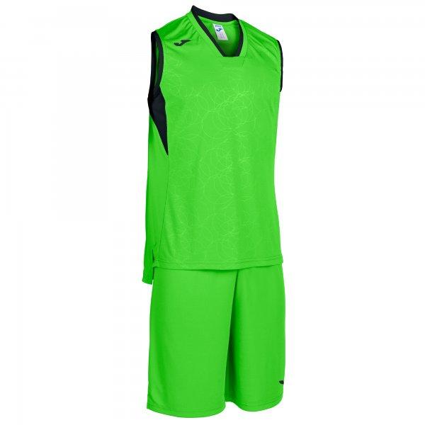 Комплект баскетбольный CAMPUS SET BASKET FLUOR GREEN-BLACK SLEEVELESS
