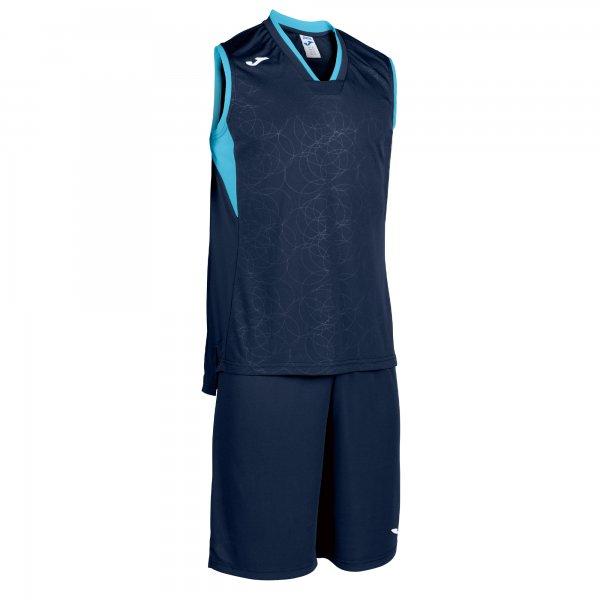 Комплект баскетбольный CAMPUS SET BASKET DARK NAVY-FL TURQUIOSE SLEEVELES